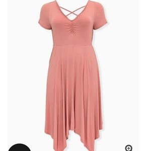 Torrid Super Soft Coral Handkerchief Skater Dress